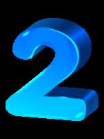 объемная голубая цифра 2