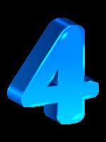 объемная голубая цифра 4